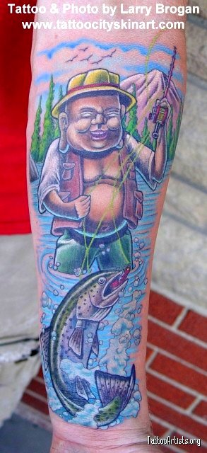 "Laughing Buddha Flyfishing. ""I loved drawing and tattooing this piece."