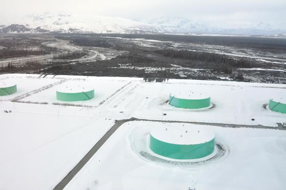 Oil Storage Tanks Below Mr. Redoubt