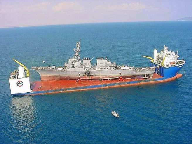 M/V Blue Marlin Hauling USS Cole