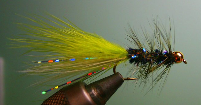 Here you can see on the Minnow Bugger, the Sparkles showing through the darker chenille. I tied this one with the same chenille I would use for the Little Fort Leech.