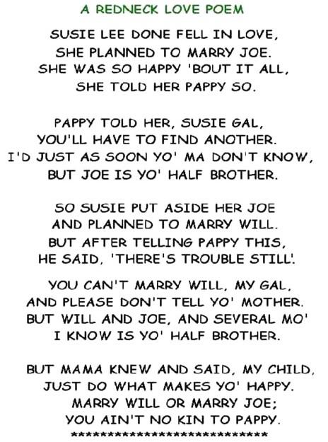 redneck poem