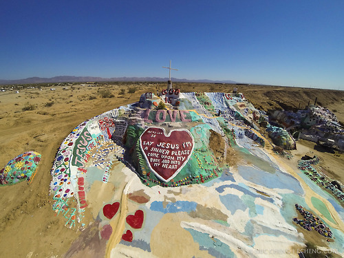 Salvation Mountain from the air, Niland, California