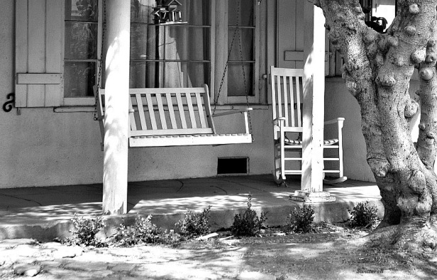 photography-porch-swing-rocking chair-black and white