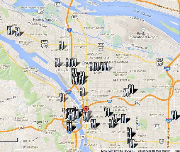 Locations of Food Cart Stations around Portland
