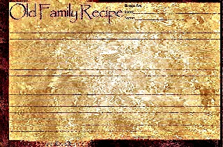 Old family recipe card