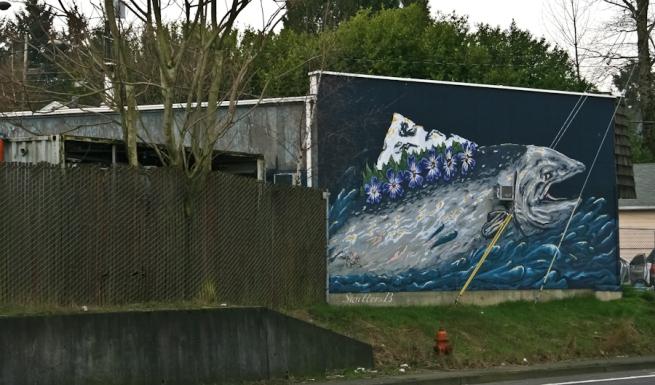 fish, wall, painting, art, mountain, Portland, SwittersB (1 of 1)