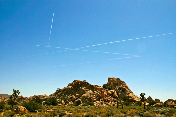 Joshua Tree NP-contrails-jets-rock formation-SwittersB-2