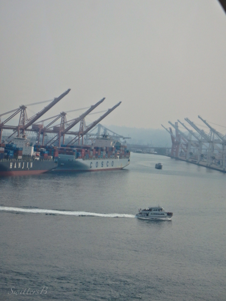 cranes, docks, Seattle, smoke, SwittersB