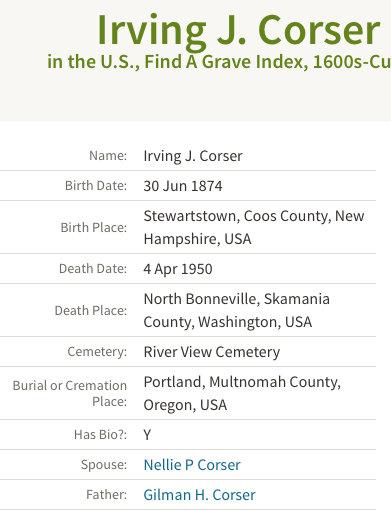 Irving J Corser Death