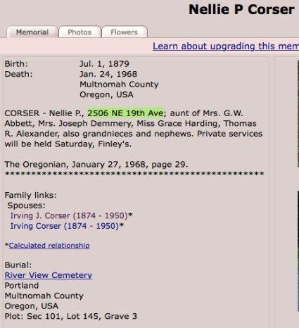 Nellie P. Corser Death 1968