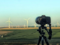 Camera Waiting for Moon-Wind Turbines-Oregon-SwittersB